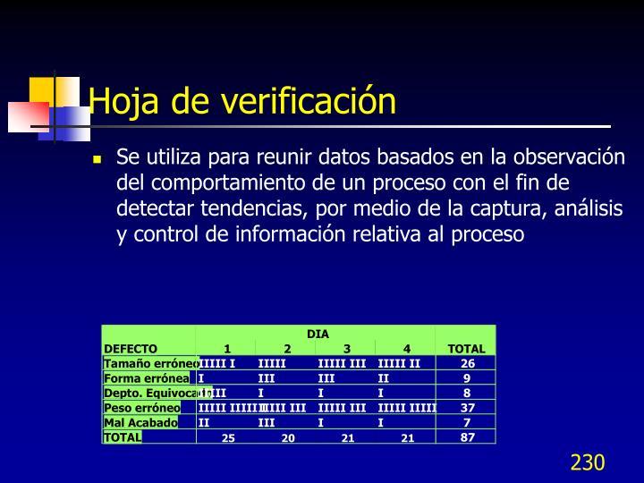 Hoja de verificación