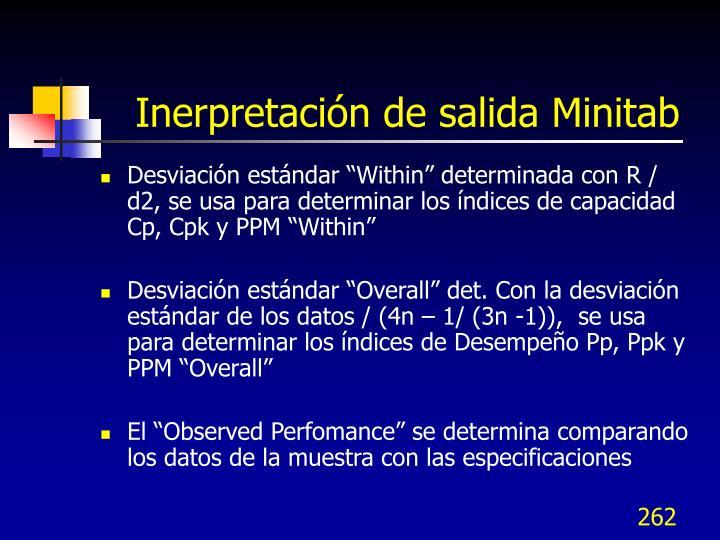 Inerpretación de salida Minitab