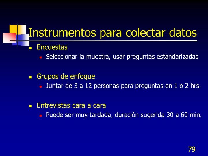 Instrumentos para colectar datos