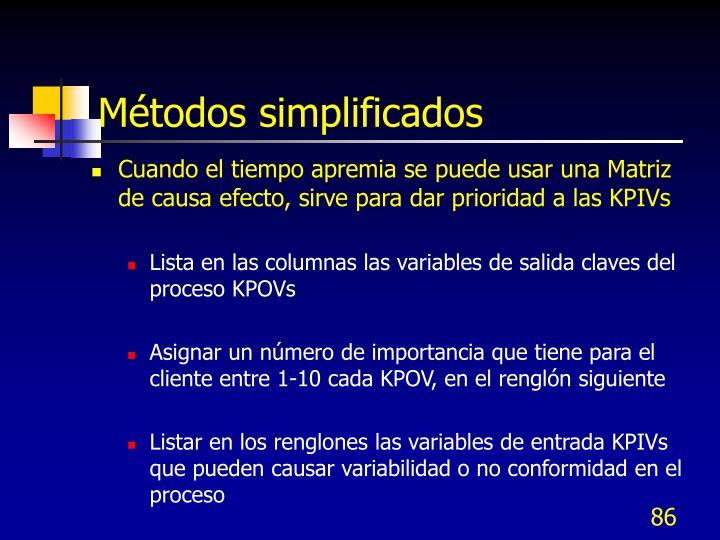 Métodos simplificados