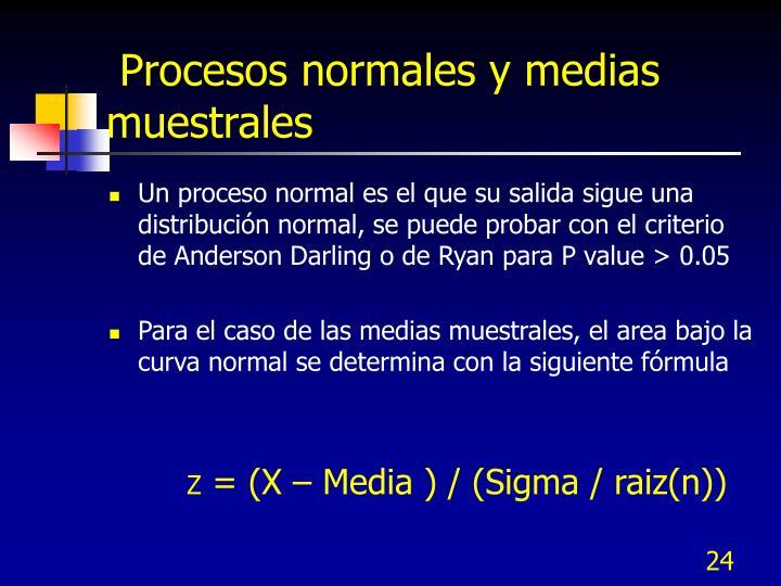 Procesos normales y medias muestrales