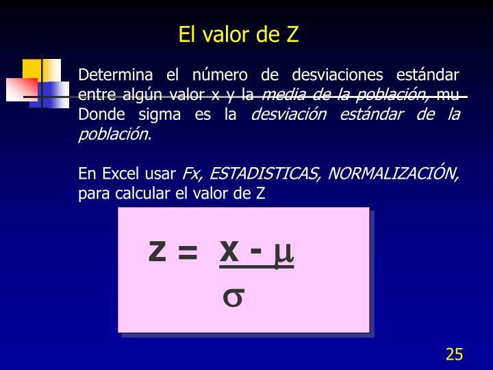 El valor de Z