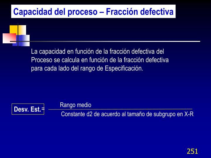 Capacidad del proceso – Fracción defectiva