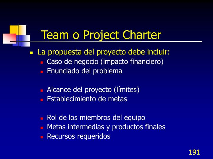 Team o Project Charter