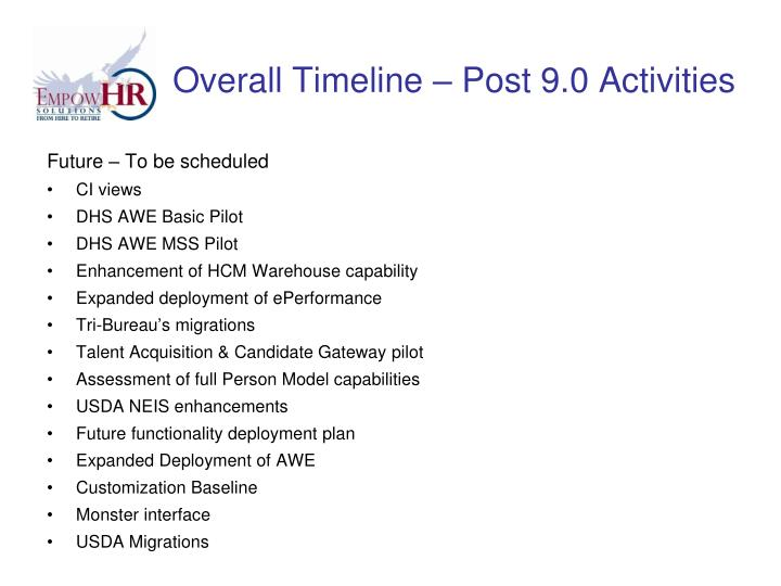 Overall Timeline – Post 9.0 Activities