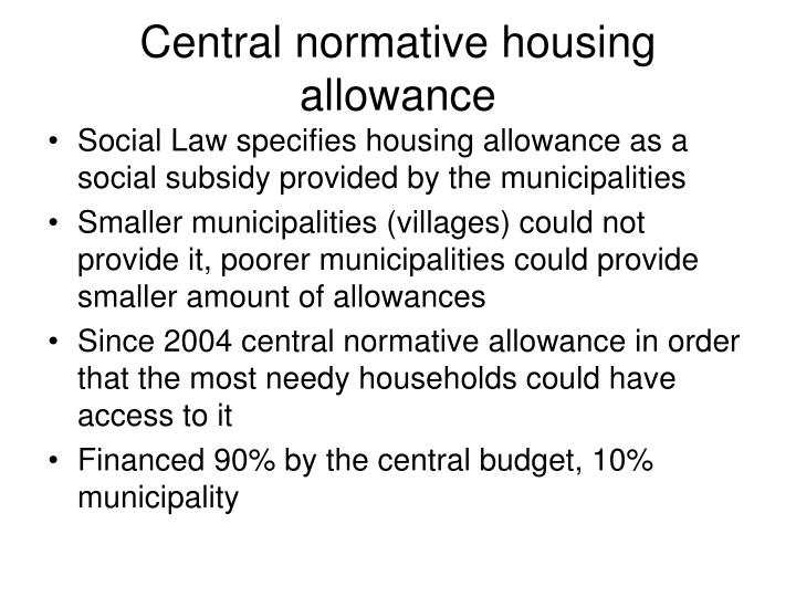Central normative housing allowance