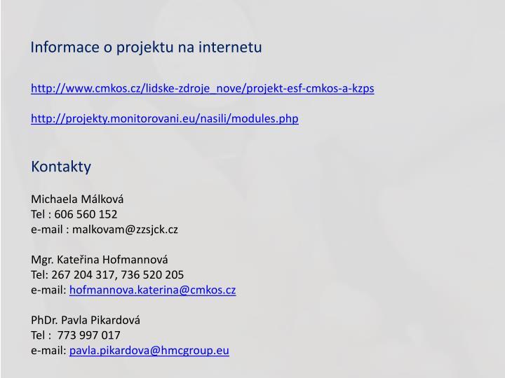 Informace o projektu na internetu