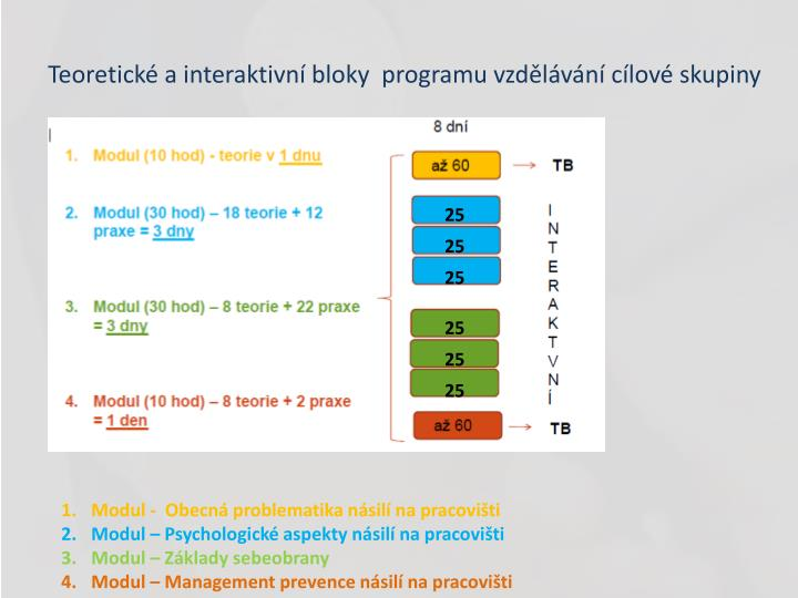 Teoretické a interaktivní bloky  programu vzdělávání cílové skupiny