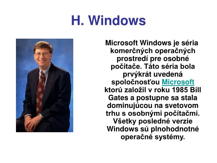 H. Windows