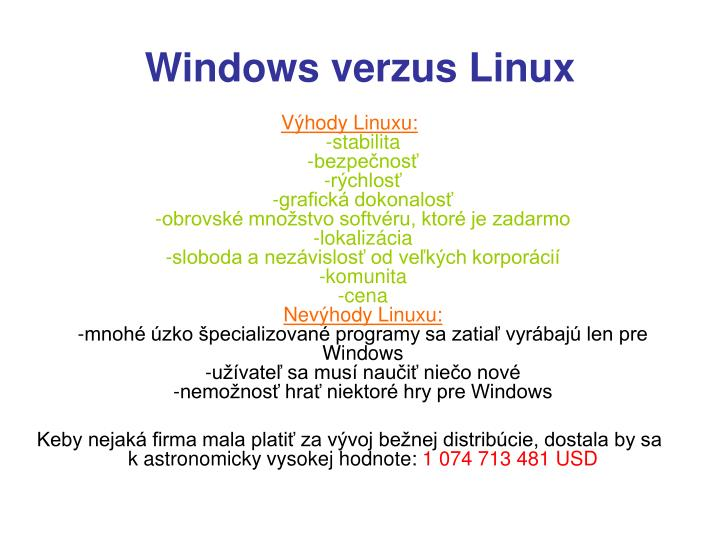 Windows verzus Linux