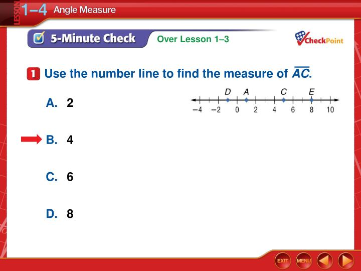 Use the number line to find the measure of