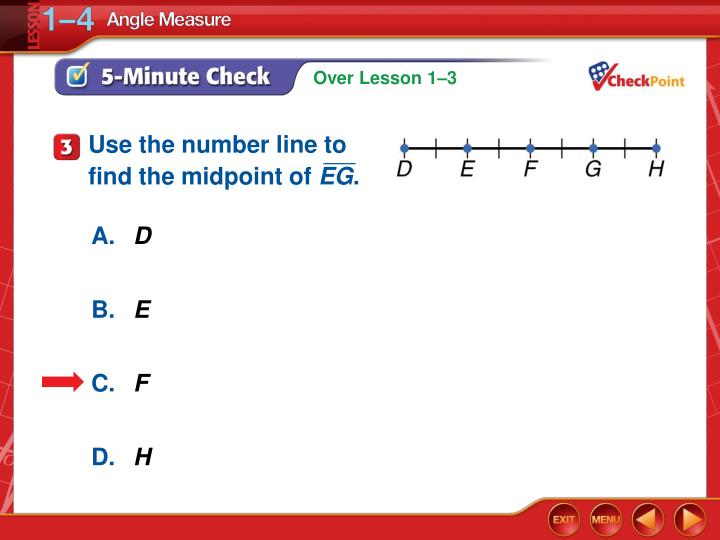 Use the number line to find the midpoint of