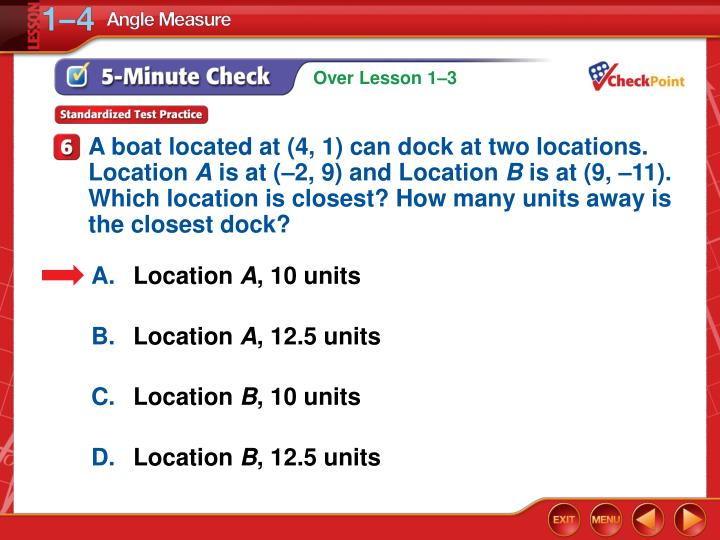 A boat located at (4, 1) can dock at two locations. Location