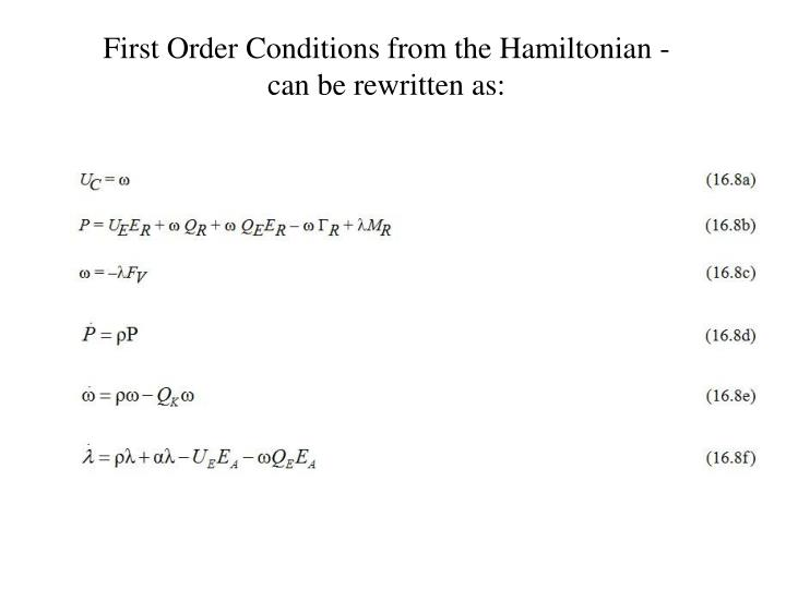 First Order Conditions from the Hamiltonian -