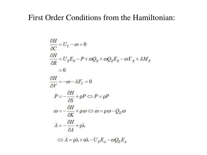 First Order Conditions from the Hamiltonian: