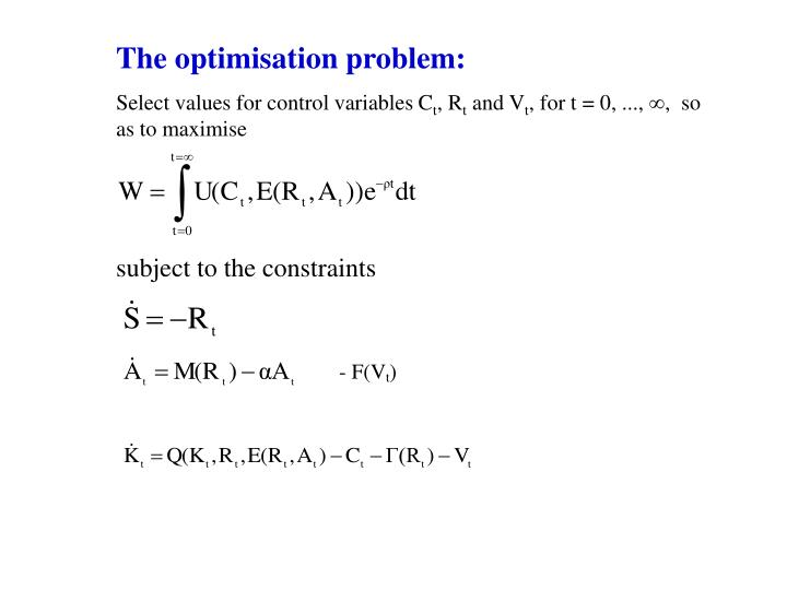 The optimisation problem: