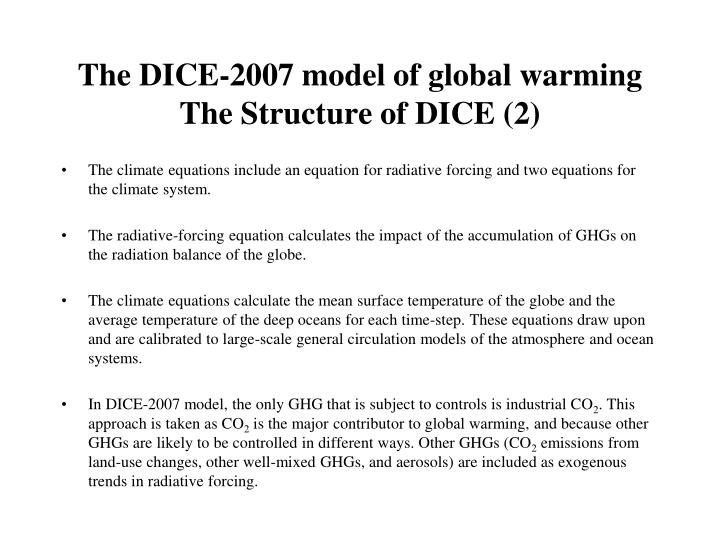 The DICE-2007 model of global warming