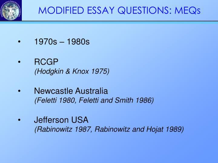 MODIFIED ESSAY QUESTIONS: MEQs