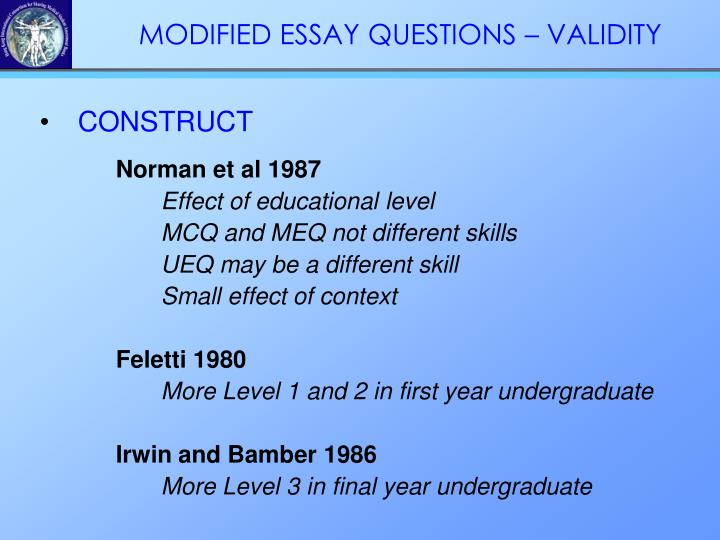 MODIFIED ESSAY QUESTIONS – VALIDITY
