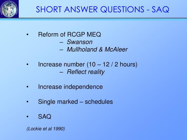 Reform of RCGP MEQ