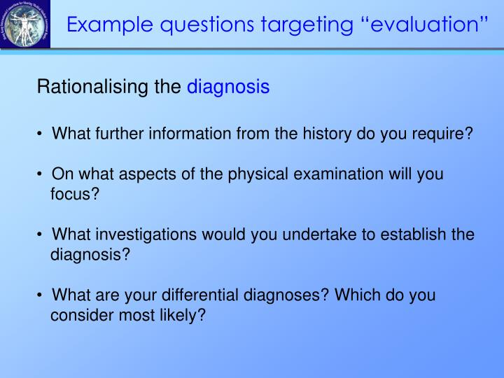 """Example questions targeting """"evaluation"""""""
