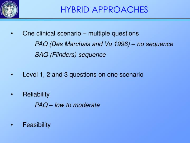 •One clinical scenario – multiple questions