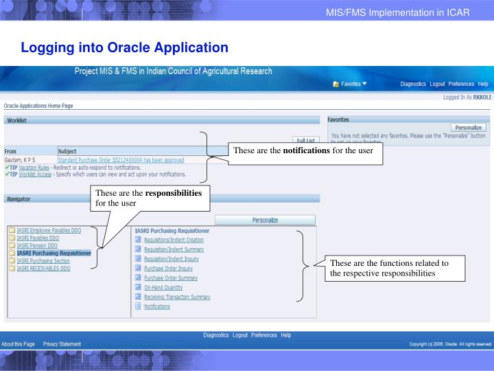 Logging into Oracle Application