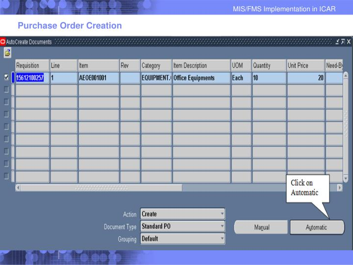 Purchase Order Creation