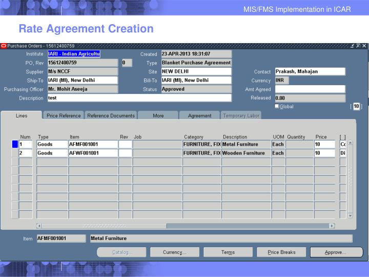 Rate Agreement Creation