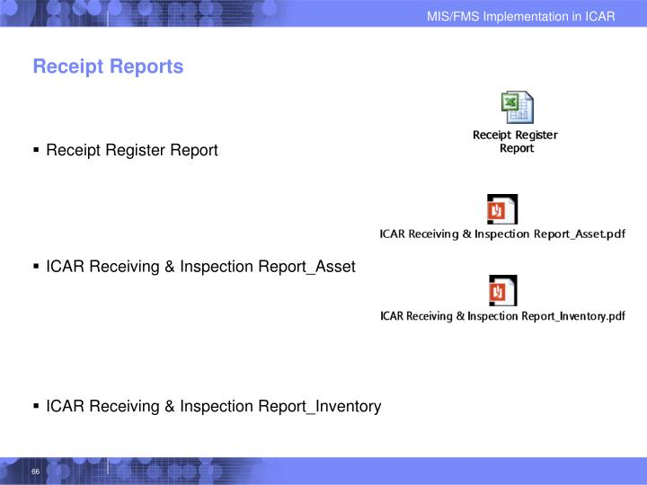 Receipt Reports