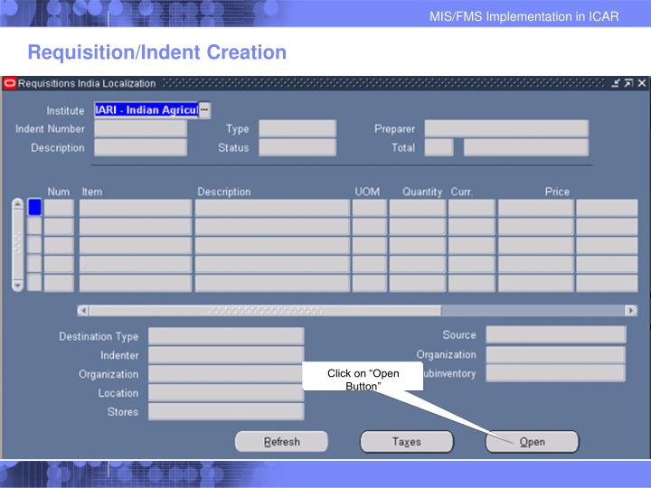 Requisition/Indent Creation