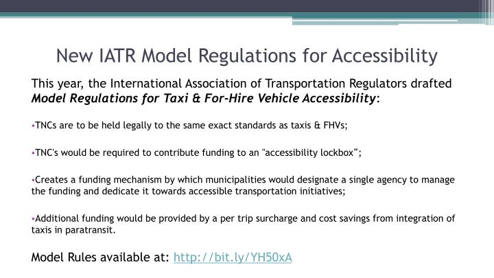 New IATR Model Regulations for Accessibility