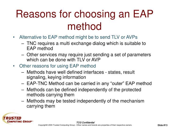 Reasons for choosing an EAP method