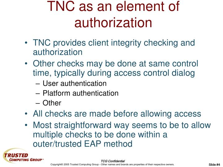 TNC as an element of authorization