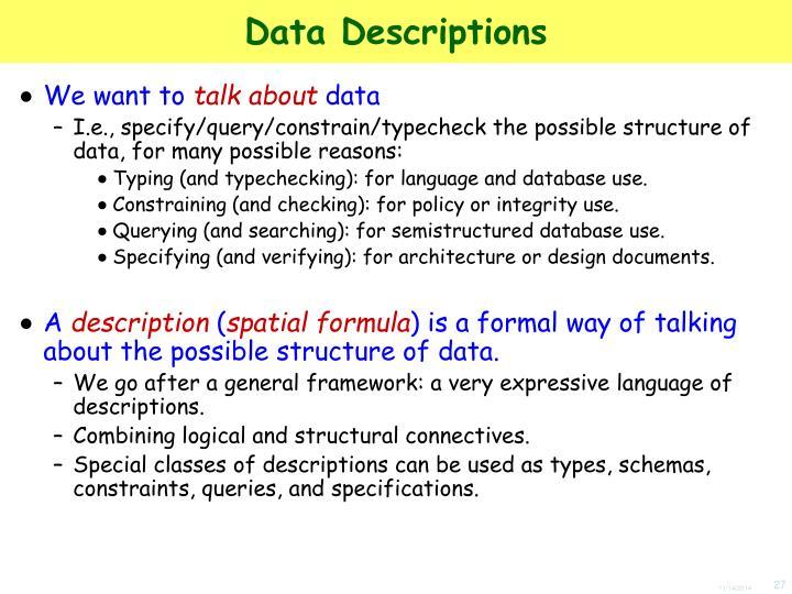 Data Descriptions