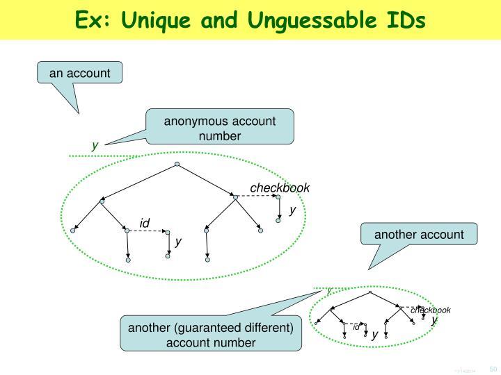 Ex: Unique and Unguessable IDs