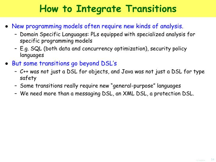 How to Integrate Transitions