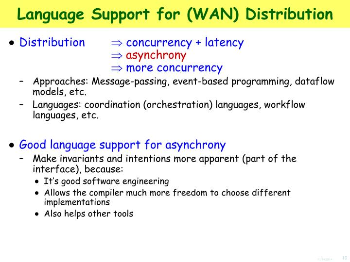 Language Support for (WAN) Distribution