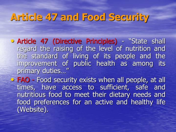 Article 47 and Food Security