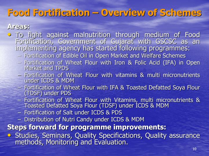 Food Fortification – Overview of Schemes