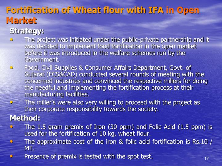 Fortification of Wheat flour with IFA