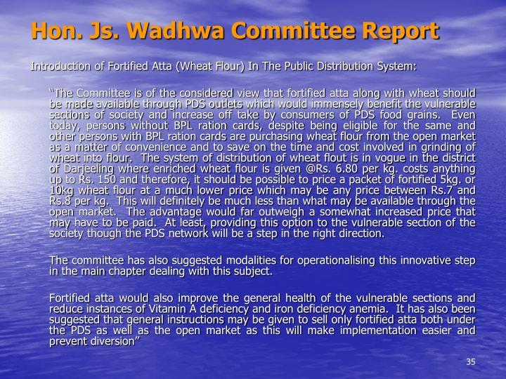 Hon. Js. Wadhwa Committee Report