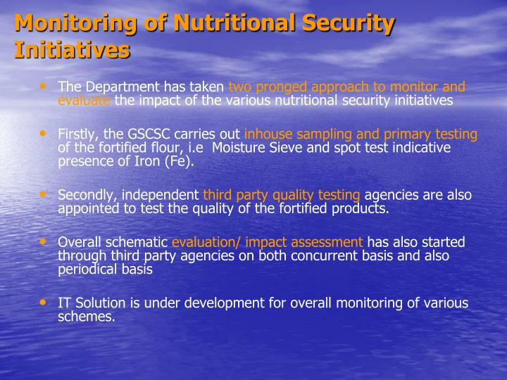 Monitoring of Nutritional Security Initiatives