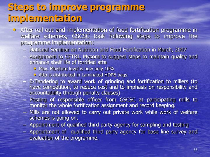Steps to improve programme implementation