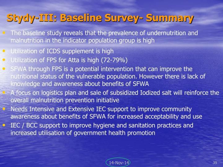 Stydy-III: Baseline Survey- S