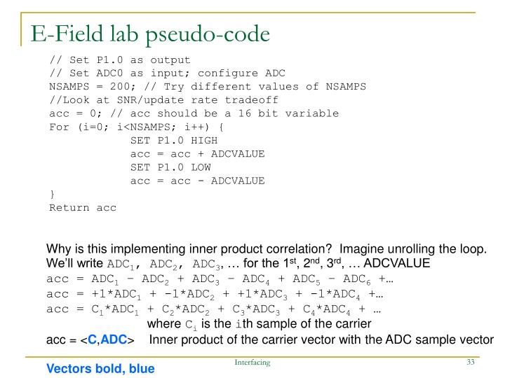 E-Field lab pseudo-code