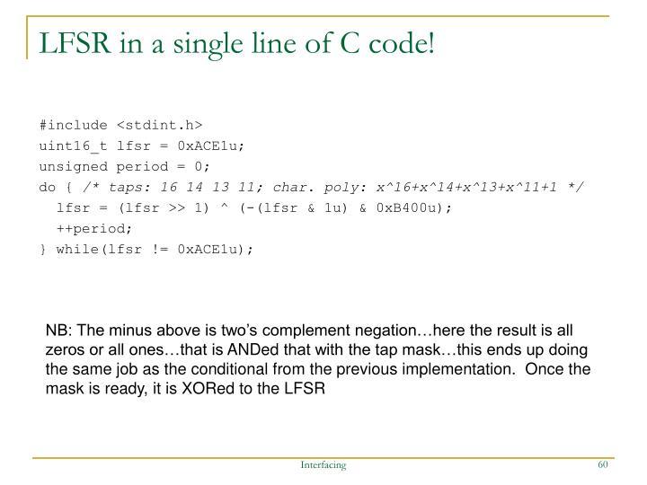 LFSR in a single line of C code!