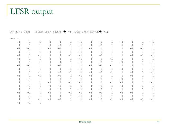 LFSR output