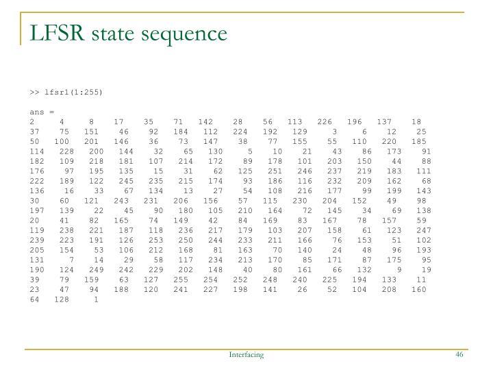 LFSR state sequence