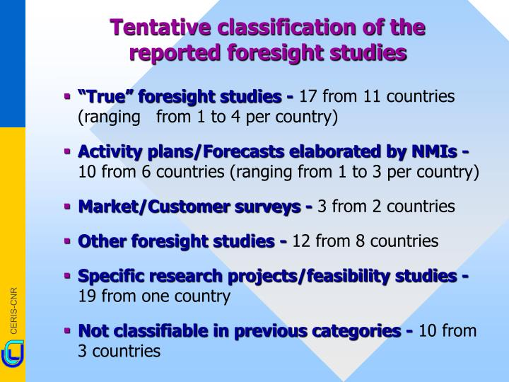 Tentative classification of the reported foresight studies